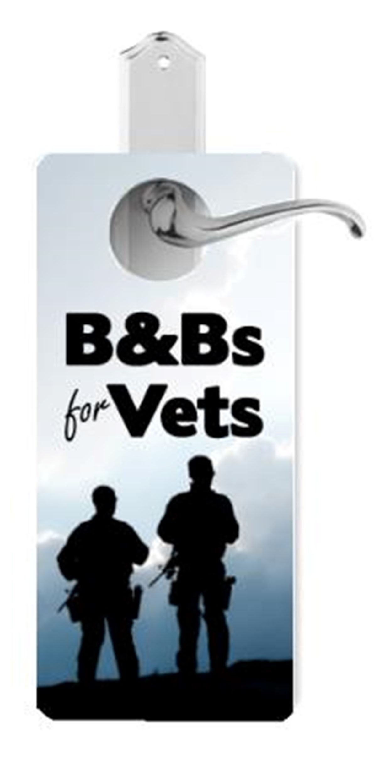 Door Hanger with B&B for Vets in text and silhouette of soldiers
